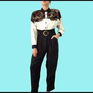 80's paisley & velvet jumpsuit